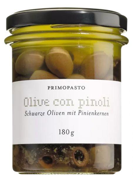 Schwarze Oliven mit Pinienkernen, ungefärbt