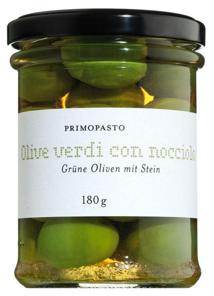 Olive verdi con nocciolo, grüne Oliven mit Stein