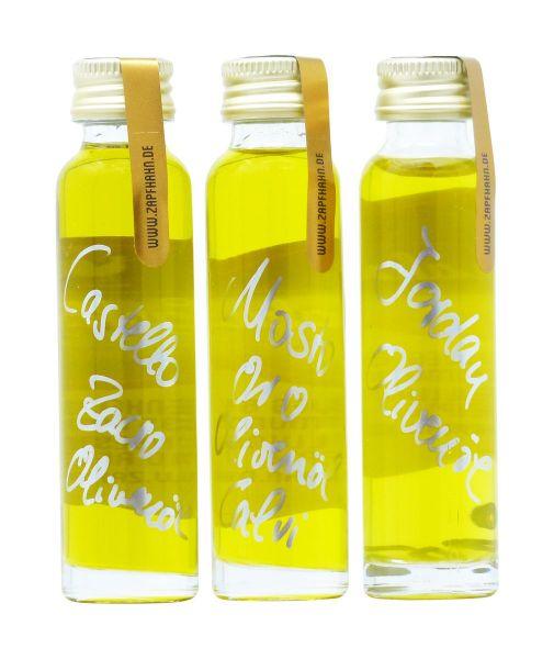 Olivenöl-Probierset: 3x20ml, FreiHaus: Olivenöl: Castello Zacro, Jordan, Mosto Oro
