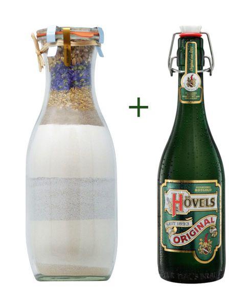Hövels-Bier-Brot, Grillbrot, mit Hövels Bier in einer Geschenkbox